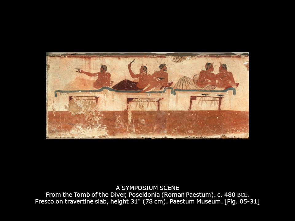 A SYMPOSIUM SCENE From the Tomb of the Diver, Poseidonia (Roman Paestum). c. 480 BCE. Fresco on travertine slab, height 31 (78 cm). Paestum Museum. [Fig. 05-31]
